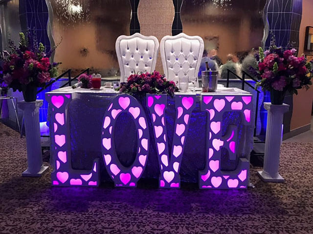 Wedding Decor Marquee Lettering with Lighting
